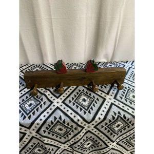 Vintage Wood Strawberry Hat / Coat Rack Wall Mount